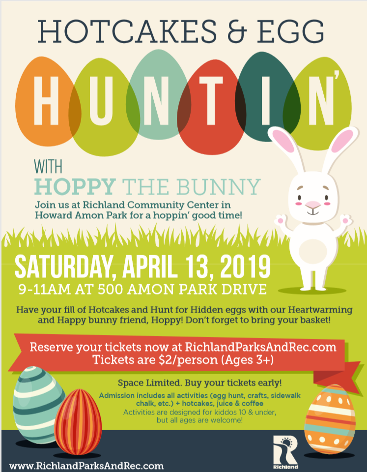Hotcakes and Egg Hunting with Hoppy the Bunny. $2 per person. April 13, 2019 from 9 AM to 11 AM